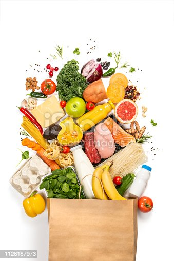 1126188273 istock photo Grocery shopping concept - foods with shopping bag 1126187973
