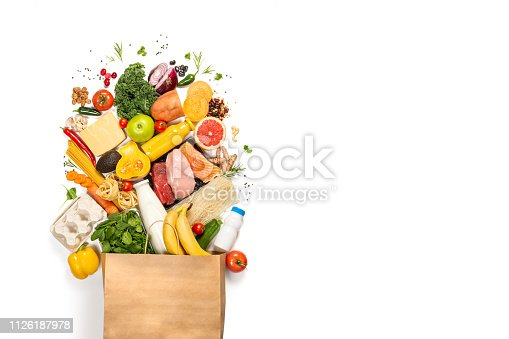 1126188273 istock photo Grocery shopping concept - foods with shopping bag 1126187978