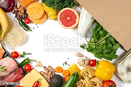 1126188273 istock photo Grocery shopping concept - foods with shopping bag 1126188013