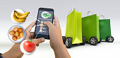 istock Grocery shopping home delivery 1284946437