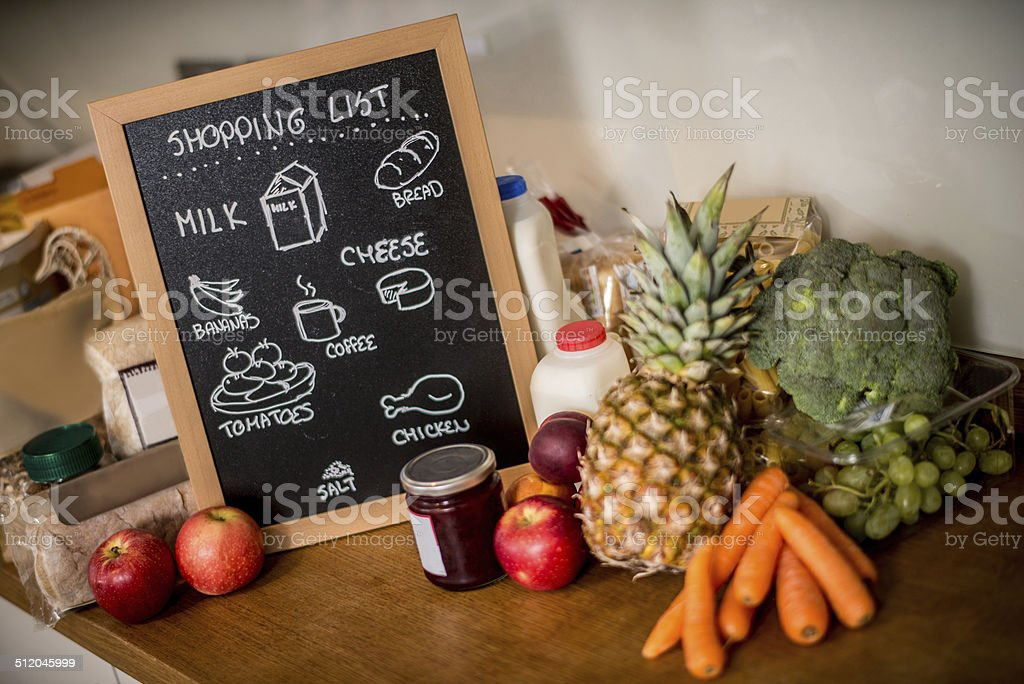 Grocery shopping list on a board in the kitchen