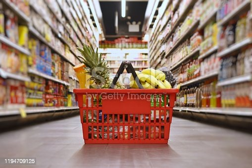 Grocery basket with products