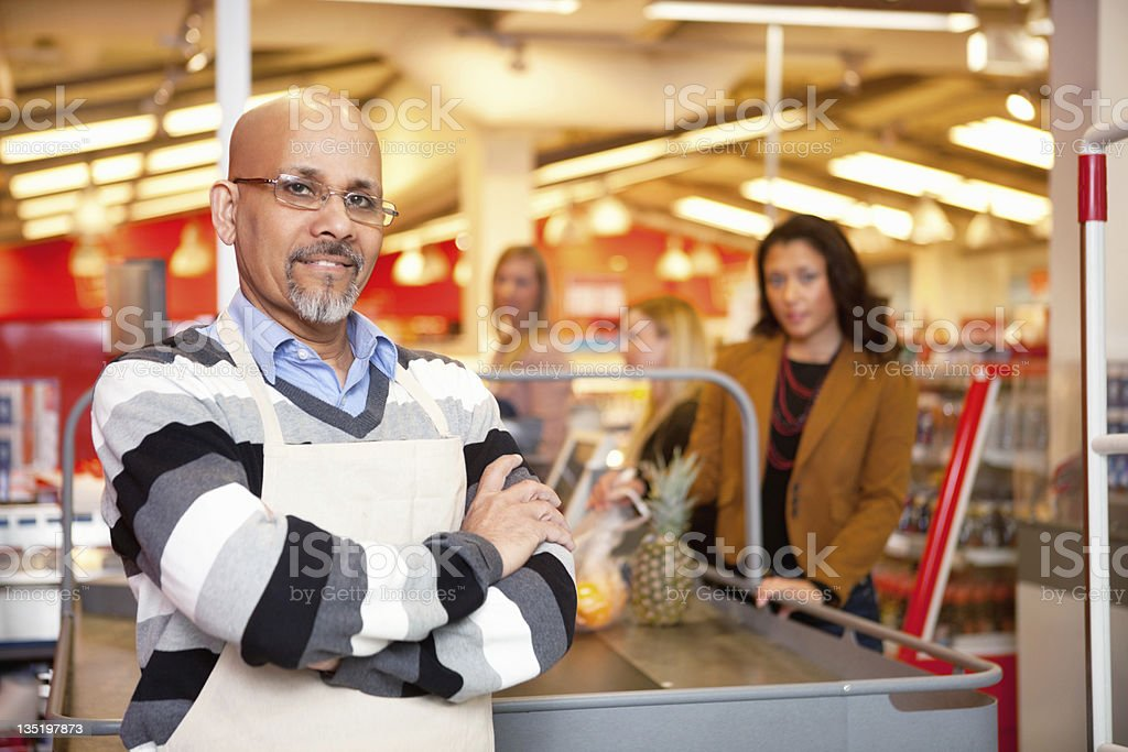 Grocery Store Cashier stock photo