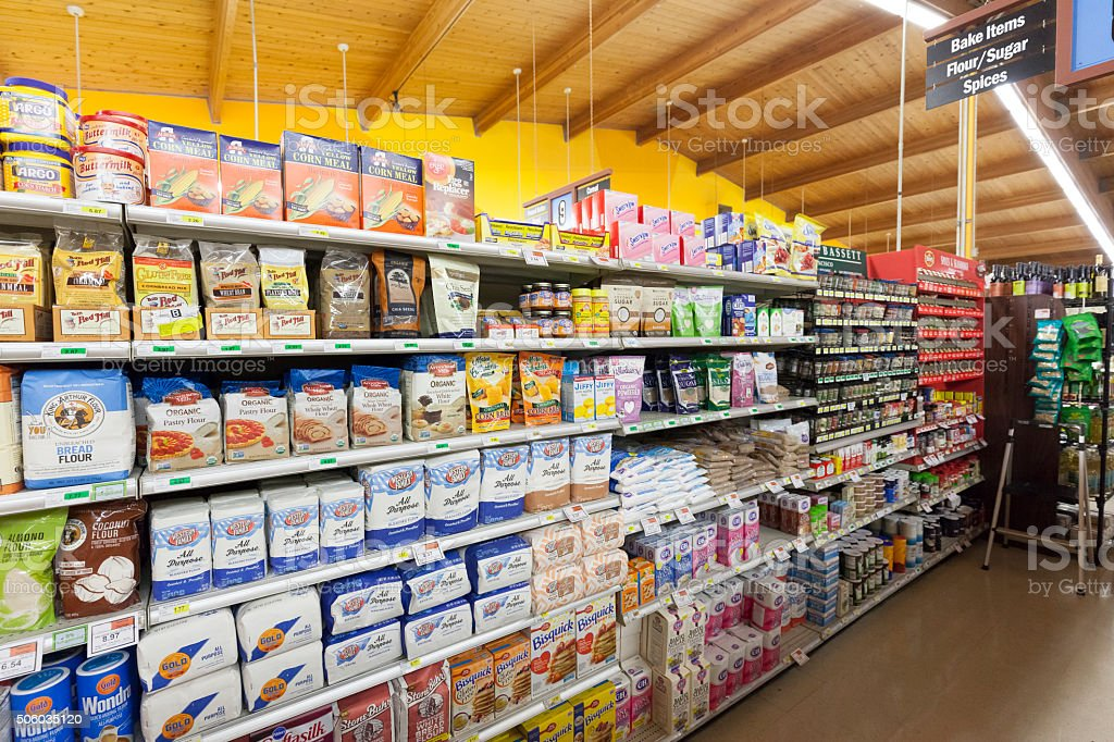 Grocery Store Cooking Supplies stock photo
