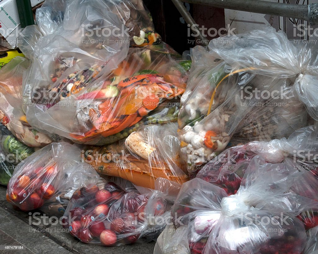 grocery store garbage stock photo
