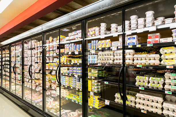 Grocery Store grocery store wide angle of refrigeration display cooler container stock pictures, royalty-free photos & images