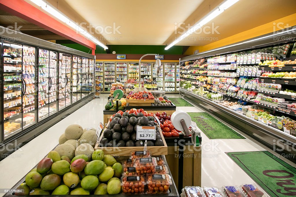 Grocery Store Produce Department - Royalty-free Aisle Stock Photo
