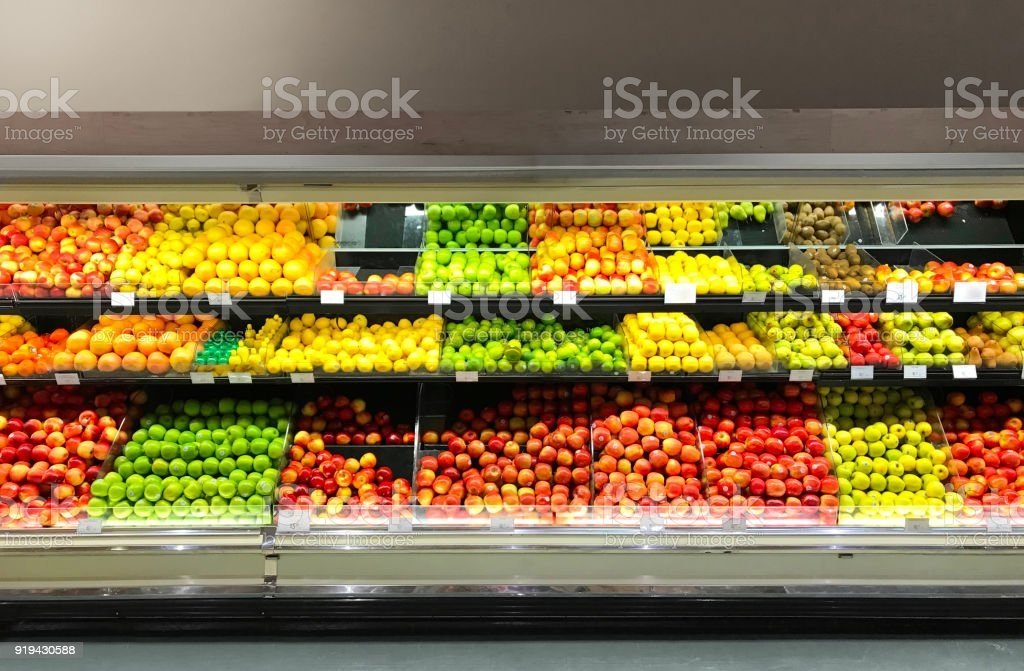 Grocery Store Retail Refrigerator Display Fresh Produce Fruits stock photo