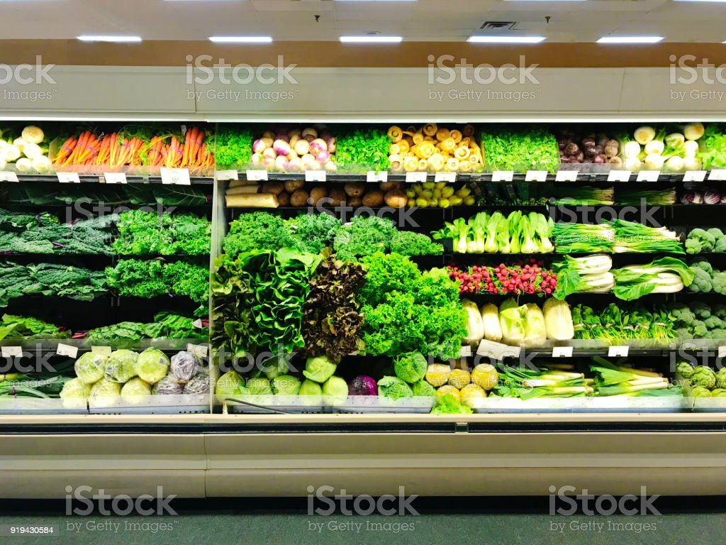 Grocery Store Retail Refrigerator Display Fresh Produce Vegetable stock photo