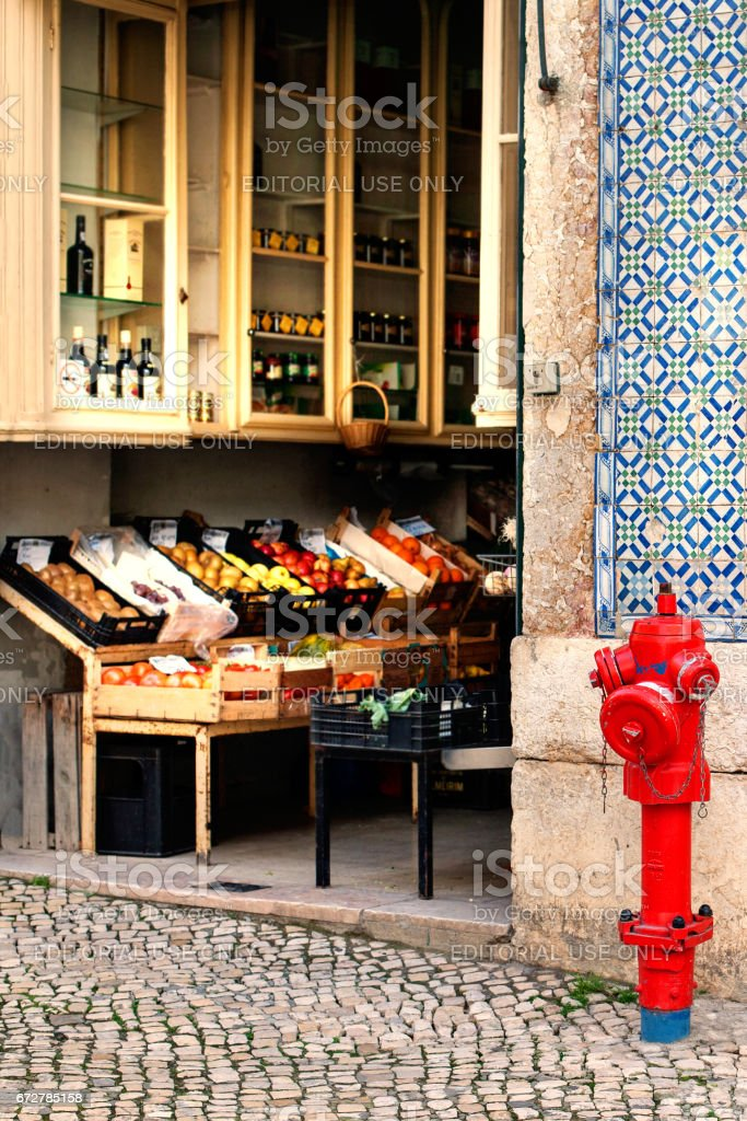 LISBON, PORTUGAL - January 20, 2016: Grocery store with fruits on a street in Lisbon, Portugal - fotografia de stock