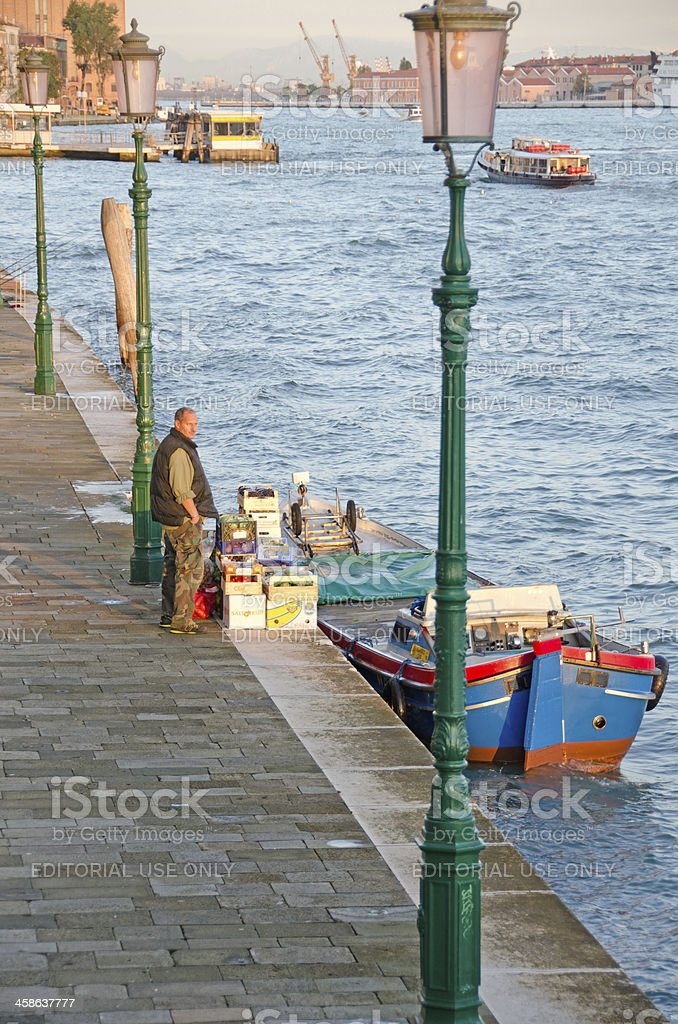 Grocery Supply Barge in Venice royalty-free stock photo