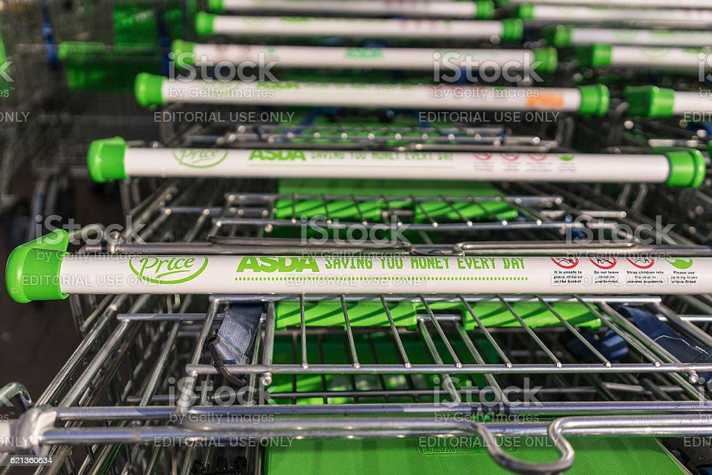 Grocery trolley's in a Asda supermarket stock photo