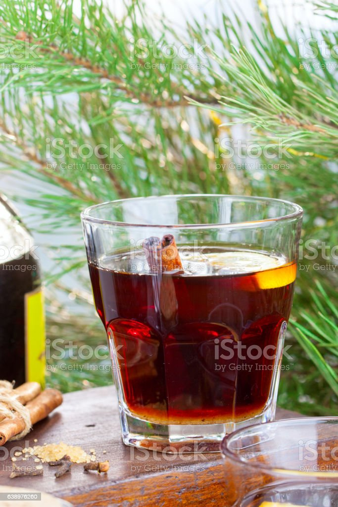 Grog with rum and black tea, selective focus stock photo