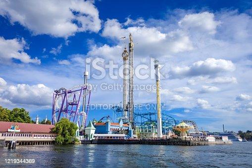 istock Grona Lund Amusement Park in Stockholm, Sweden 1219344369