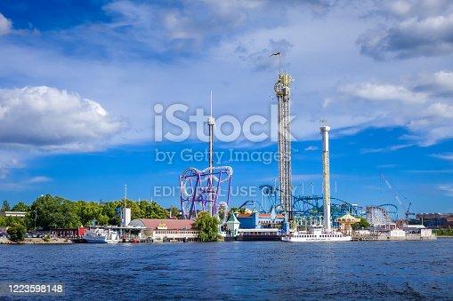 istock Grona Lund Amusement Park in Stockholm, Sweden 1223598148