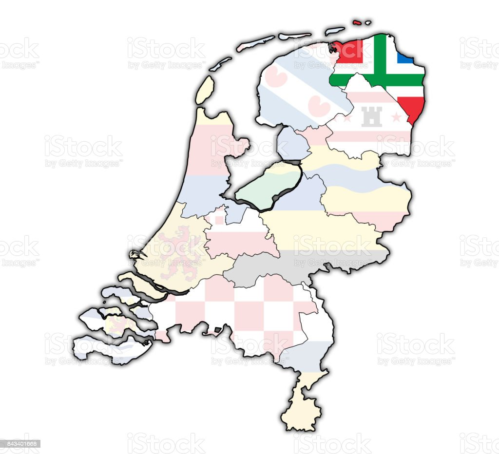 Groningen Flag On Map With Borders Of Provinces In ...