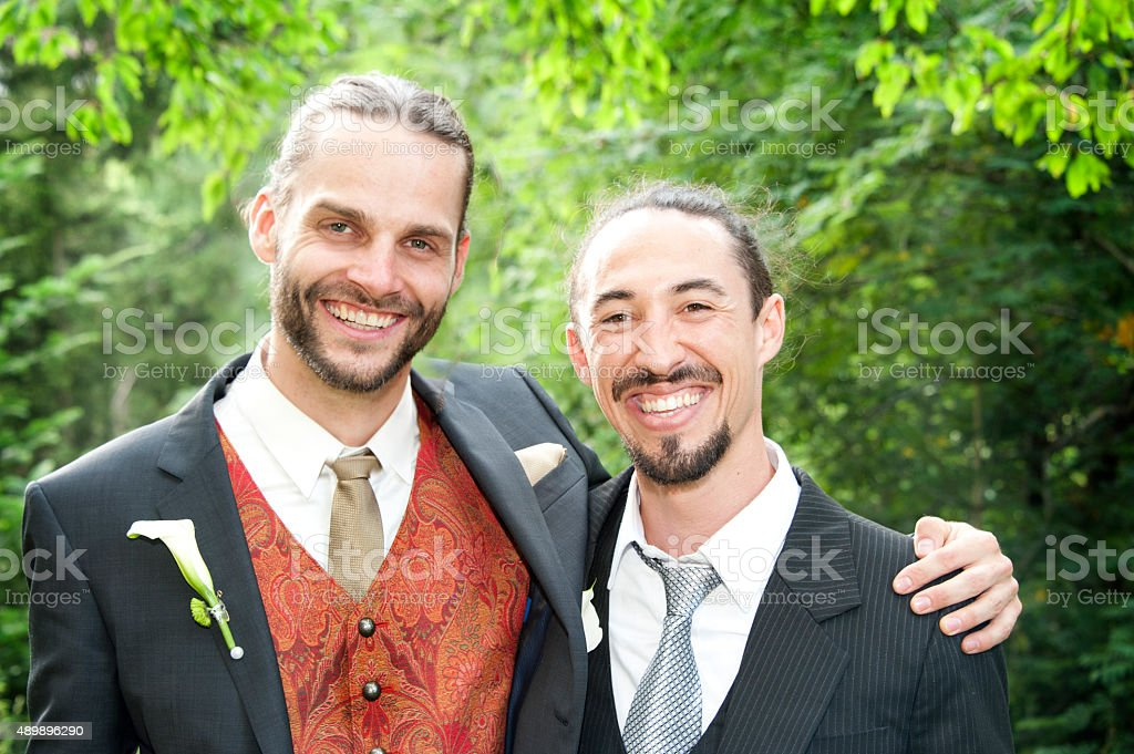Groom and Best Man stock photo