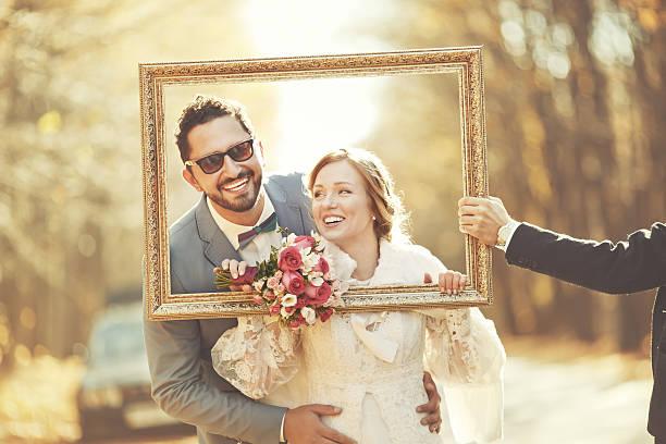 Groom and bride on wedding day. stock photo