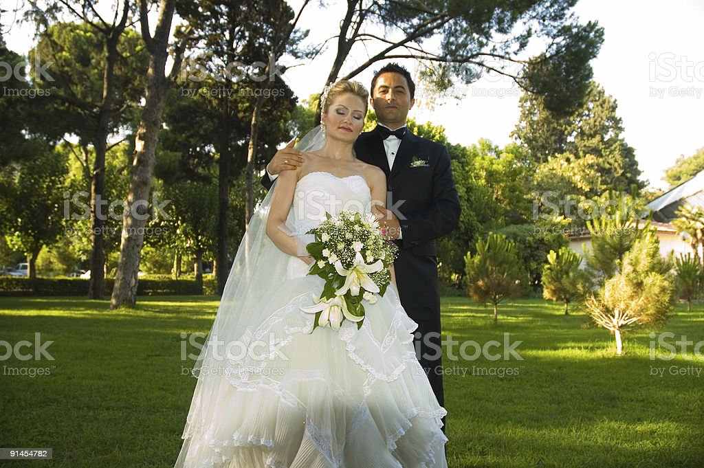 groom and bride royalty-free stock photo