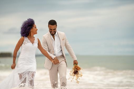 Groom, Bride, Walk on water, Beach, Newlyweds