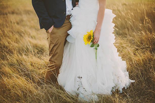 bräutigam und braut mit sonnenblumen im feld - bräutigam jeans stock-fotos und bilder