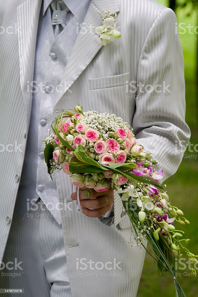 groom and wedding bouquet royalty-free stock photo