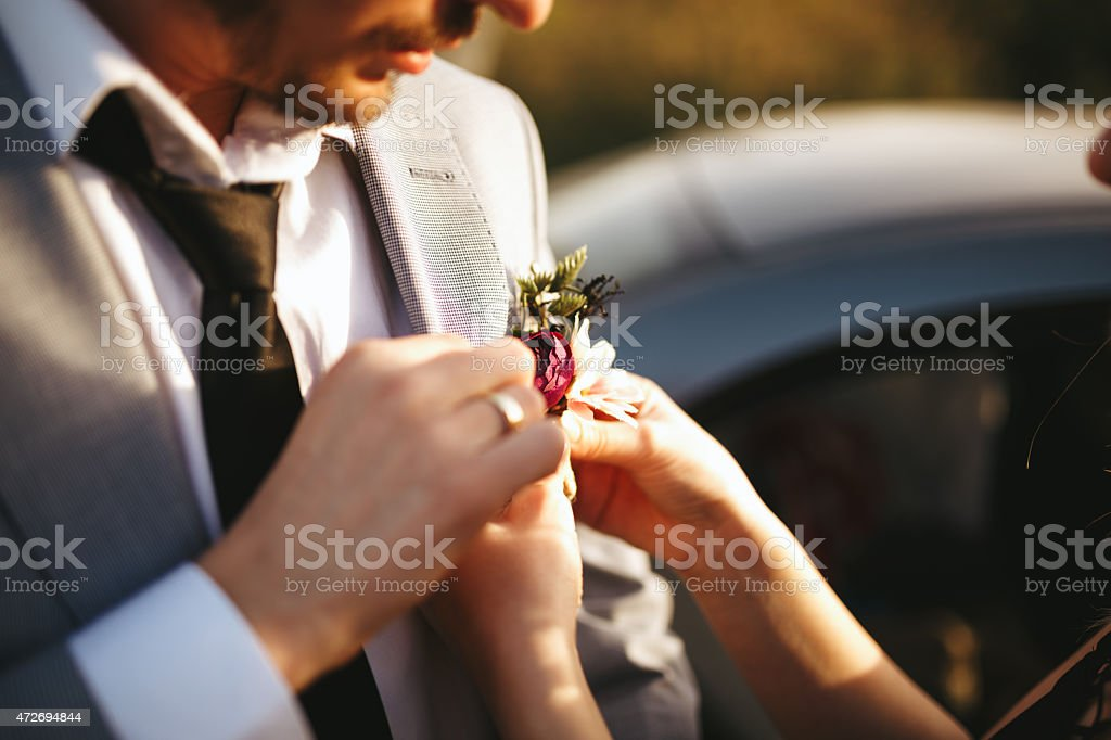 Groom Boutonniere stock photo