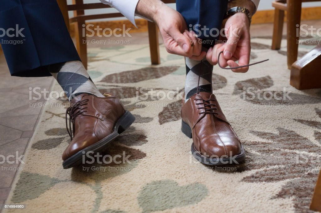 Groom Getting Ready for Wedding stock photo