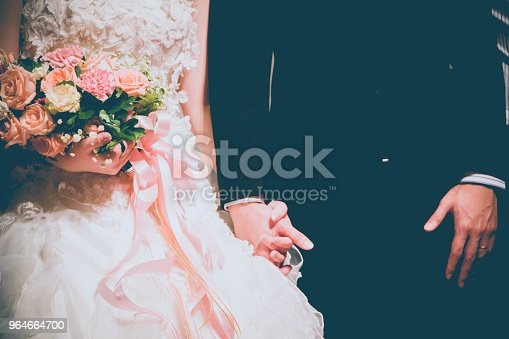 Groom Holding Bride Hand With Bouquet Of Flowers Stock Photo & More Pictures of Adult