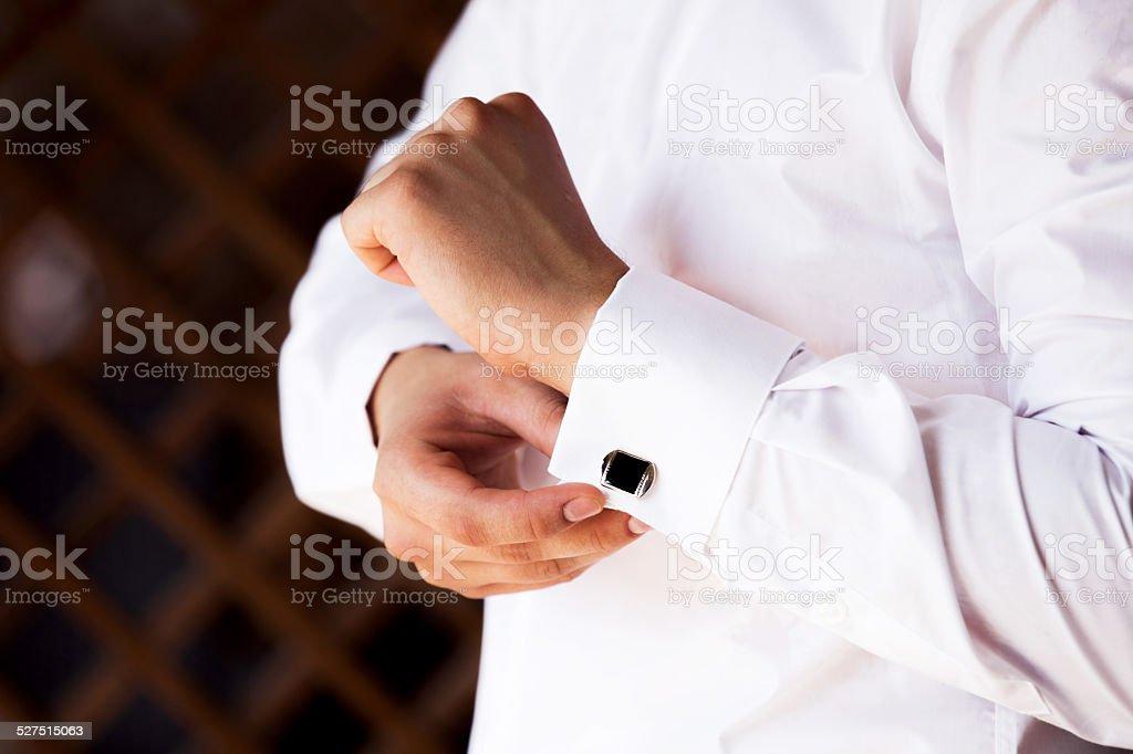 Groom in wedding suits stock photo