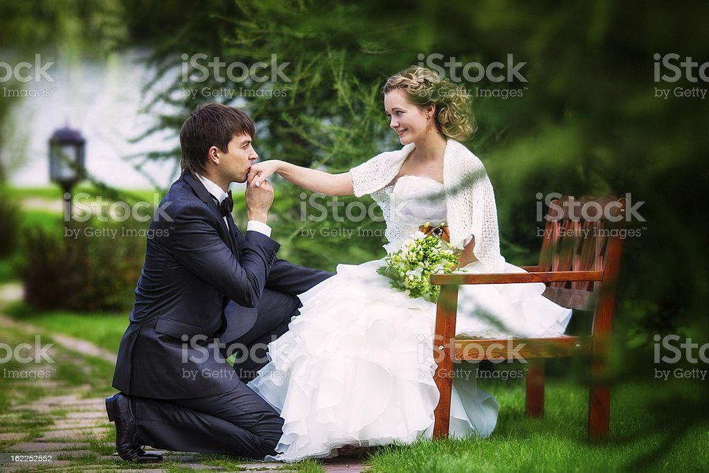 Groom kneeling before the bride royalty-free stock photo