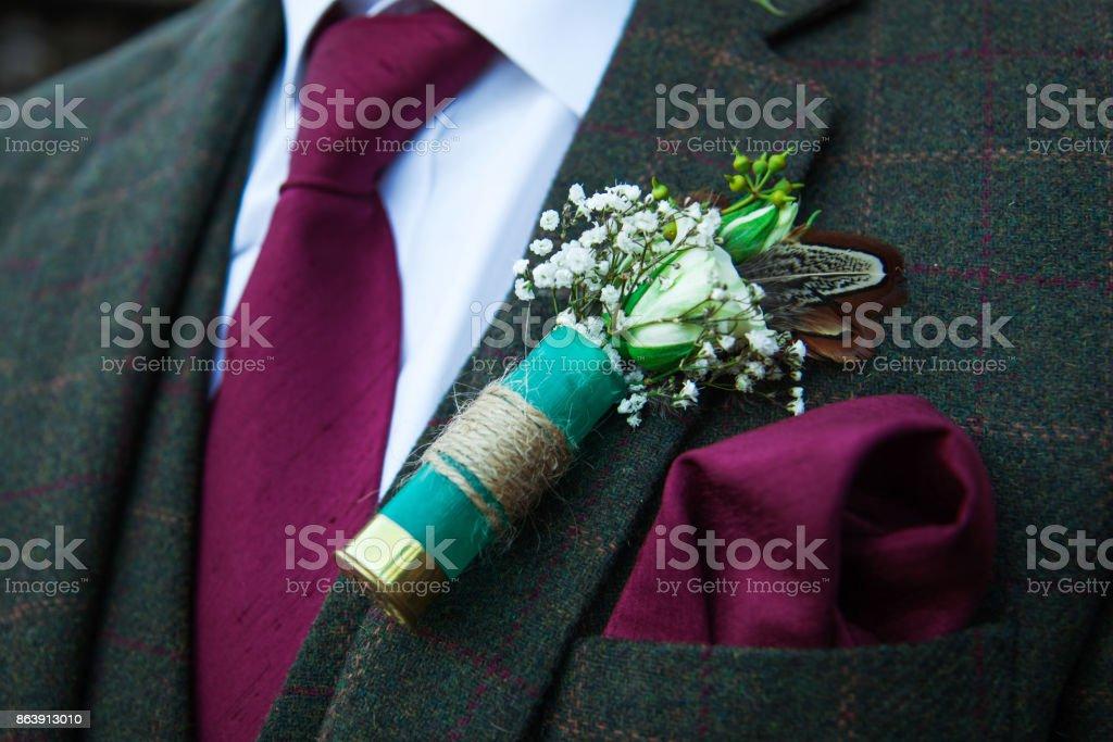 Groom on wedding day stock photo