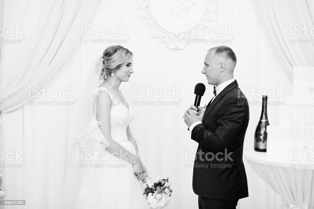 Groom Speech Talking With Microphone For His Bride At Wedding Ceremony  Stock Photo - Download Image Now