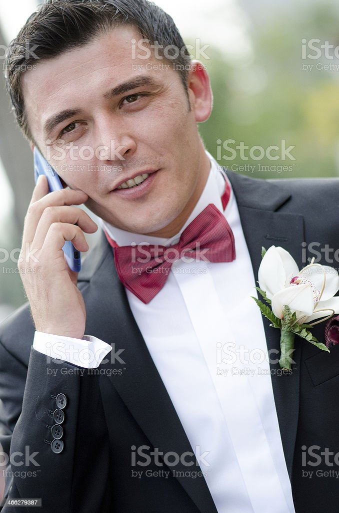Groom talking on the phone royalty-free stock photo