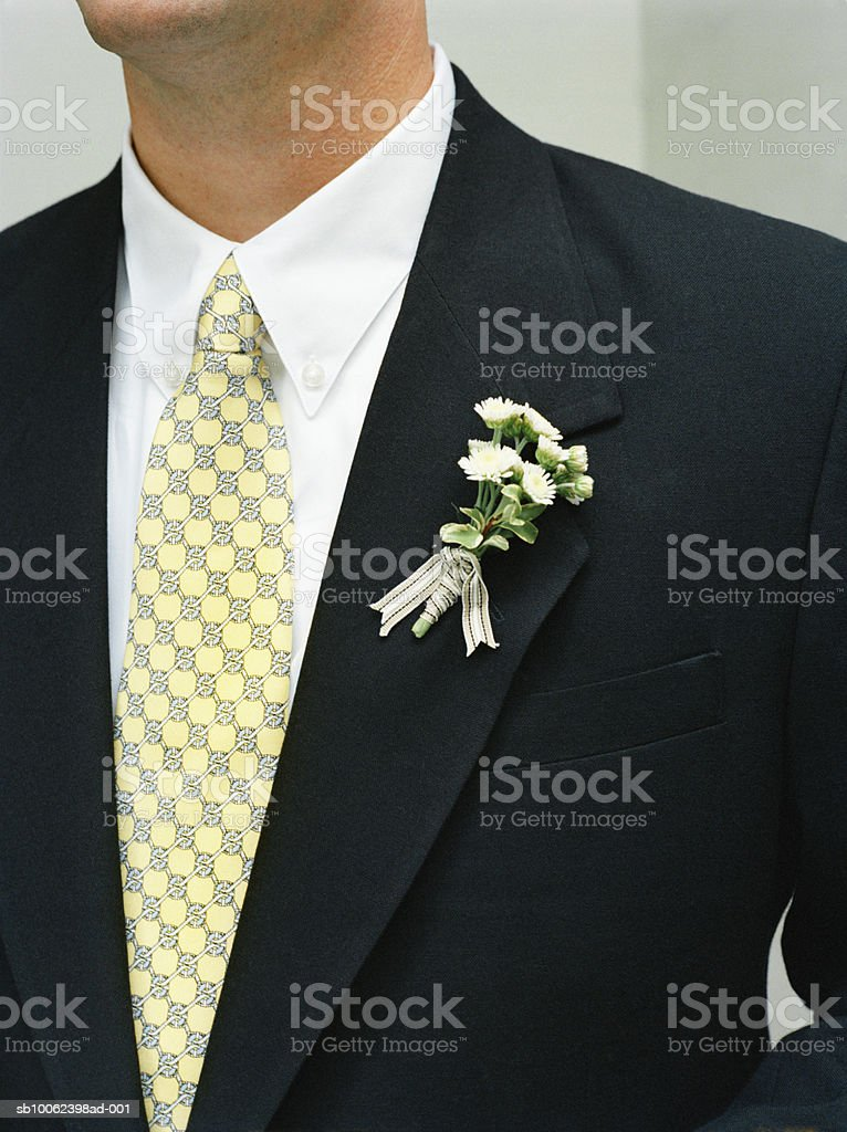 Groom wearing full suit with boutonniere, mid section royalty free stockfoto