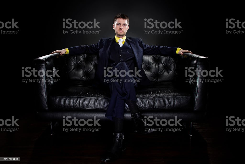 Groom Wearing Modern Wedding Suit stock photo