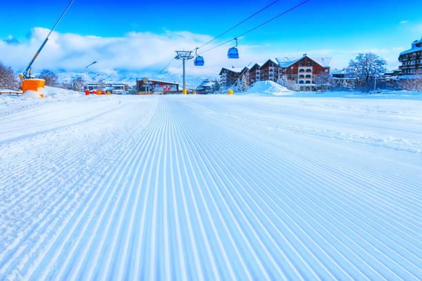 groomed snow at Bansko ski slope, Bulgaria stock photo