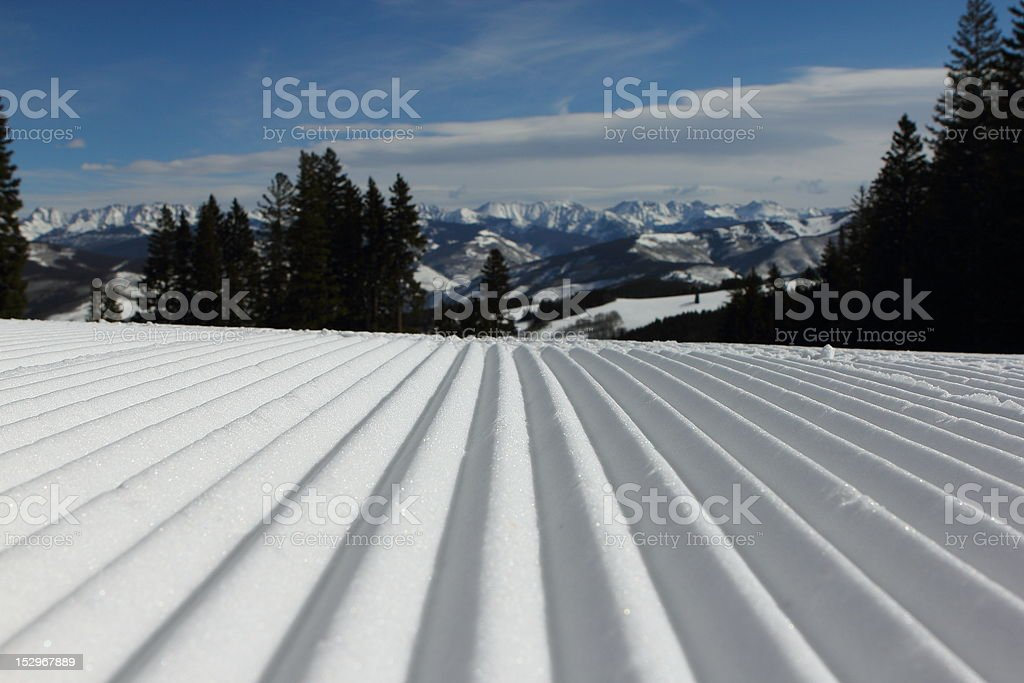 Groomed Snow Ski Run stock photo