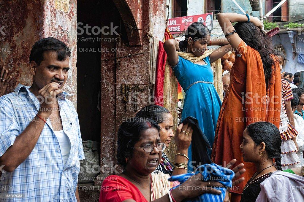 Grooming after ritual bath in Ganges, Varanasi, India. royalty-free stock photo