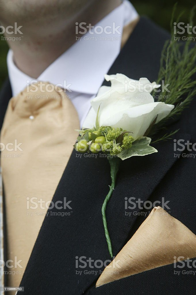 grooms buttonhole on wedding day royalty-free stock photo