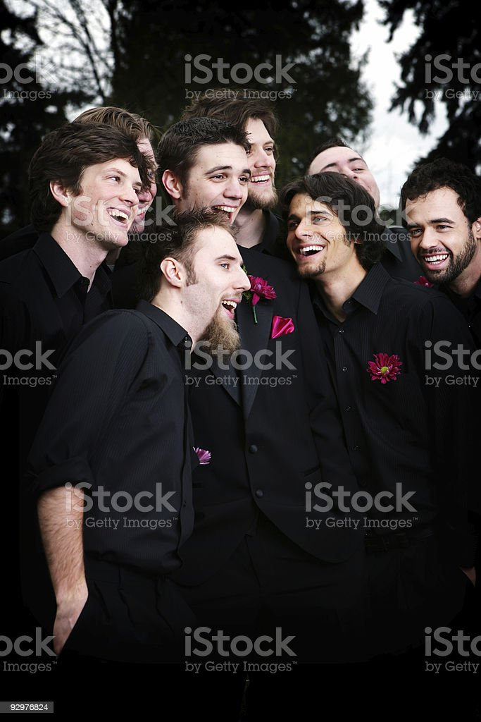 Groomsmen Celebrating Color. royalty-free stock photo
