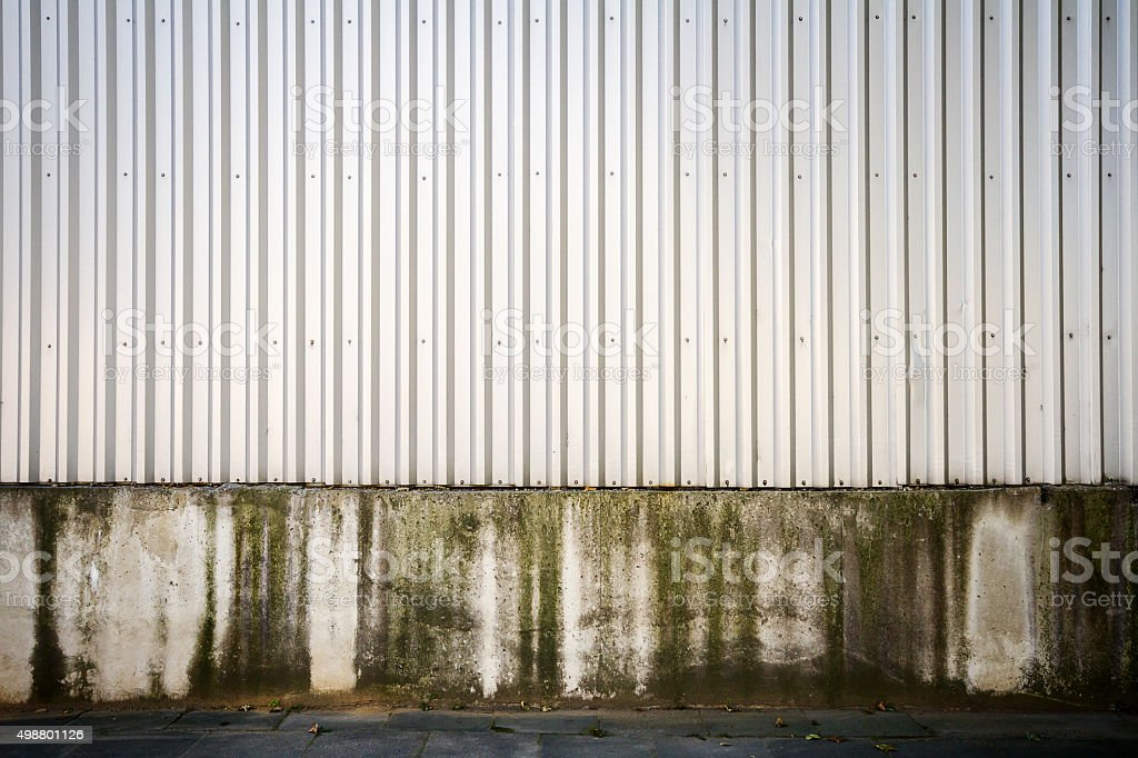 Grooved metal wall stock photo