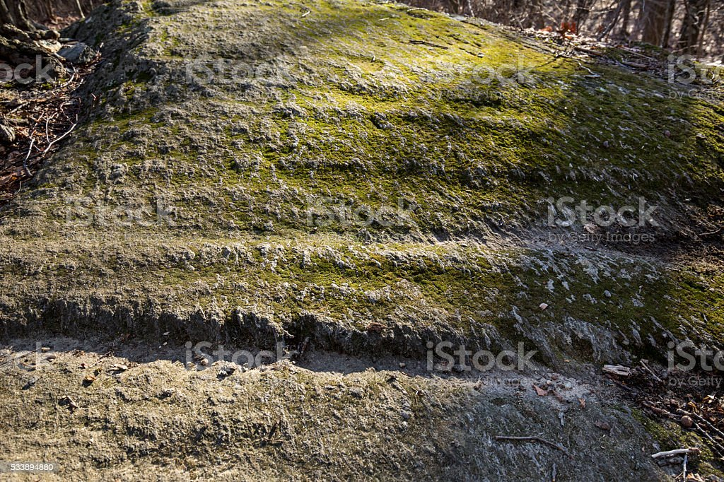 Grooves in bedrock left by glaciers in Manchester, Connecticut. stock photo