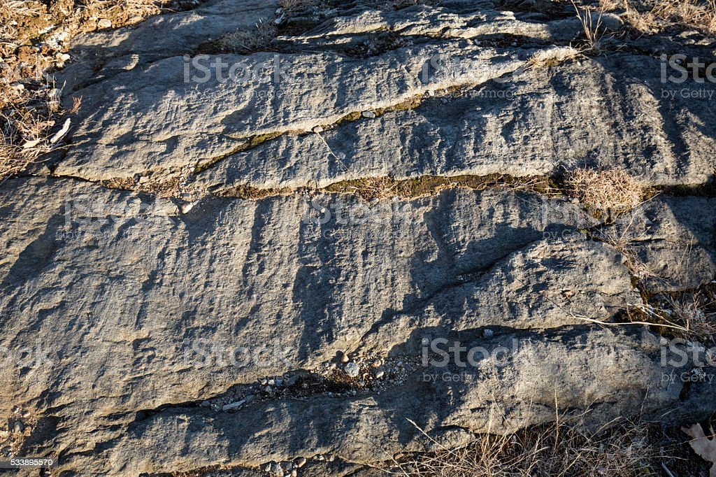 Grooves in rock made by glacier, Case Mountain Park, Connecticut. stock photo