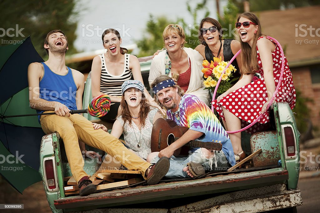 Groovy Group in the Back of Truck royalty-free stock photo
