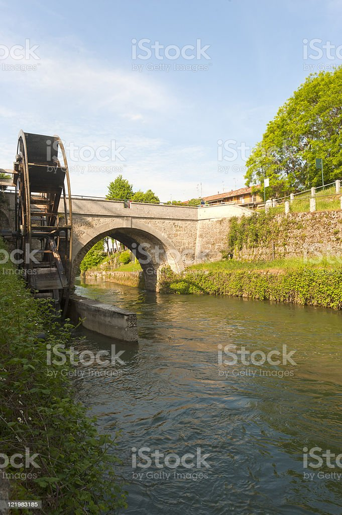 Groppello d'Adda (Milan, Lombardy, Italy), ancient bridge and watermill stock photo