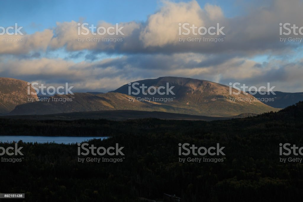 Gros Morne Mountian at sunset stock photo