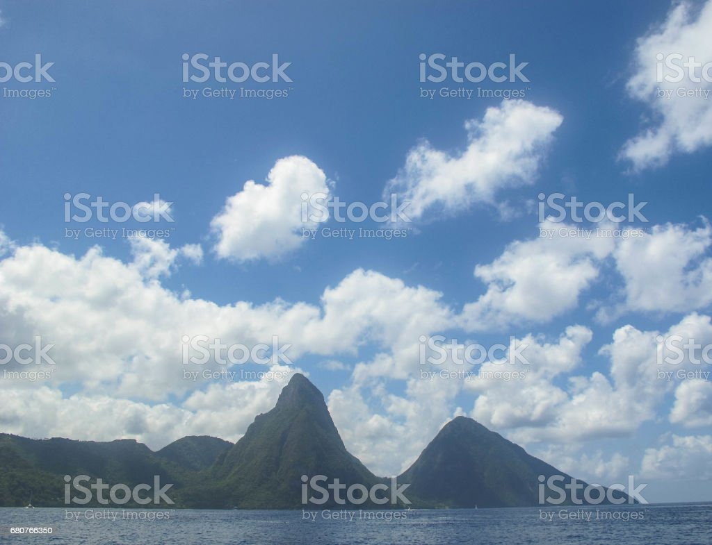Gros Piton and Petit Piton, Saint Lucia stock photo