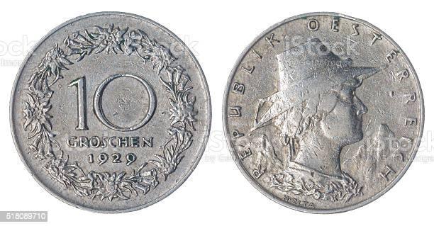 10 groschen 1929 coin isolated on white background, Austria