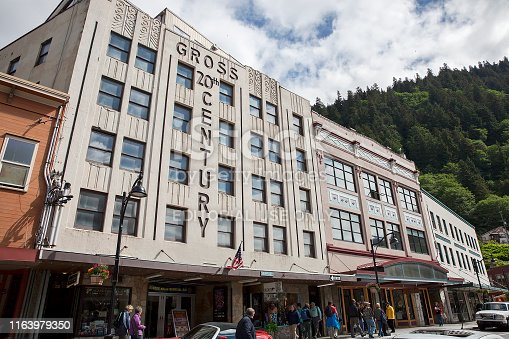 Juneau, Alaska - 06/13/2019: Front view of Gross 20th Century Theatre building, which opened in 1940, on Front Street in Juneau on a busy summer day.